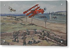 Acrylic Print featuring the painting The Red Baron's Last Combat by Murray McLeod