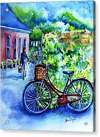Acrylic Print featuring the painting The Red Bike  by Trudi Doyle
