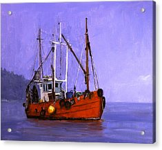 The Red Fishing Boat Acrylic Print by Carlos Herrera