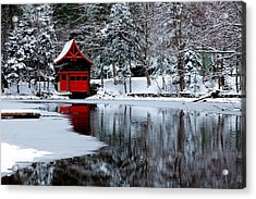 The Red Boathouse In Winter Acrylic Print by David Patterson