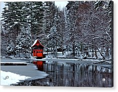 The Red Boathouse - Old Forge Ny Acrylic Print by David Patterson