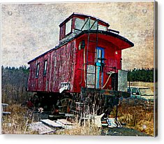 The Red Caboose Acrylic Print by Dianne  Lacourciere