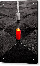 Acrylic Print featuring the photograph The Red Candle by Marwan Khoury
