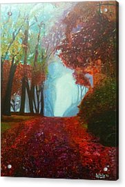 Acrylic Print featuring the painting The Red Cathedral - A Journey Of Peace And Serenity by Belinda Low