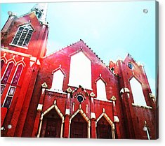 The Red Church By Sharon Cummings Acrylic Print by Sharon Cummings