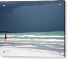 The Red Dress - Beach Art By Sharon Cummings Acrylic Print by Sharon Cummings