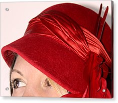 The Red Hat Acrylic Print by  Andrea Lazar