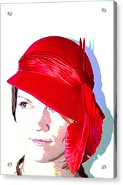 The Red Hat II Acrylic Print by  Andrea Lazar