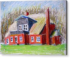 The Red Homestead On A Green Glade Acrylic Print
