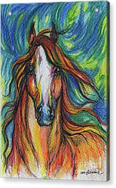 The Red Horse Acrylic Print by Angel  Tarantella