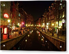 The Red Lights Of Amsterdam Acrylic Print by Jonah  Anderson