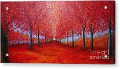 The Red Maples Alley Acrylic Print