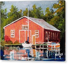 The Red Marina Acrylic Print by Jim Phillips