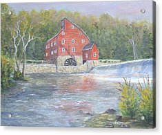 Acrylic Print featuring the painting The Red Mill by Katalin Luczay