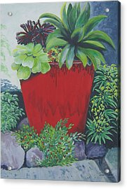 Acrylic Print featuring the painting The Red Pot by Suzanne Theis