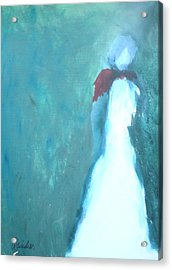 The Red Scarf Acrylic Print by Andrea Friedell