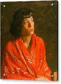 The Red Shawl Acrylic Print by Thomas Eakins
