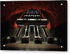 The Red Station Acrylic Print by Frederico Borges
