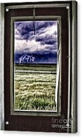 Acrylic Print featuring the photograph The Red Storm Door by Brad Allen Fine Art