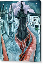 The Red Tower In Halle Acrylic Print by Ernst Ludwig Kirchner