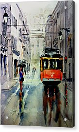 The Red Tram Acrylic Print by Steven Ponsford