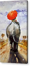 Acrylic Print featuring the painting The Red Umbrella by Steven Ponsford
