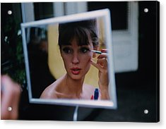 The Reflection Of A Model Applying Make-up Acrylic Print by Karen Radkai
