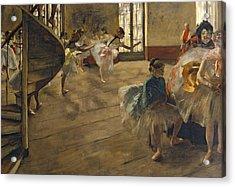 The Rehearsal, C.1877 Acrylic Print by Edgar Degas
