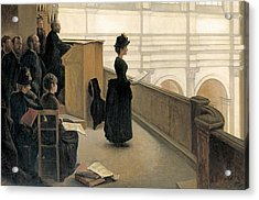 The Rehearsal In The Choir Loft Acrylic Print by Henri Lerolle