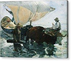 The Return From Fishing Acrylic Print by Joaquin Sorolla y Bastida