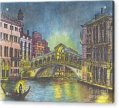 Relections Of Light And The Rialto Bridge An Evening In Venice  Acrylic Print by Carol Wisniewski
