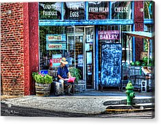 Figure On Bench - The Right Corner Acrylic Print by Barry Jones