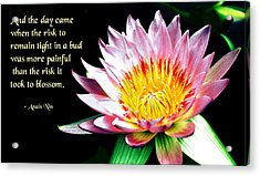 The Risk Acrylic Print by Mike Flynn