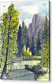 Acrylic Print featuring the painting The River At Yosemite by Terry Banderas