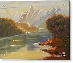 The River Flowing From A High Mountain Acrylic Print