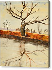 The River In Winter - Painting Acrylic Print by Veronica Rickard