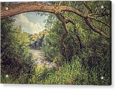 The River Severn At Buildwas Acrylic Print by Amanda Elwell