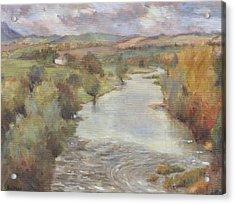 The River Tweed, Roxburghshire, 1995 Acrylic Print by Karen Armitage