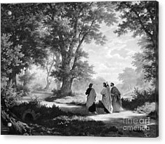 The Road To Emmaus Monochrome Acrylic Print by Tina M Wenger