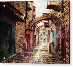 The Road To The Cross  Jerusalem Acrylic Print by Graham Braddock