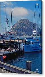 The Rock At Morro Bay Acrylic Print by Kathy Yates