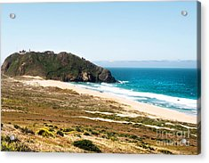 The Rock Of Piedras Blancas Lighthouse In San Simeon Ca Acrylic Print by Artist and Photographer Laura Wrede