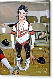 The Roller Derby Girl With A Black Eye Acrylic Print by Jim Fitzpatrick