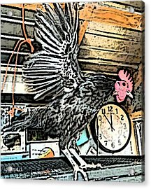 Acrylic Print featuring the painting The Rooster That Overslept by George Pedro