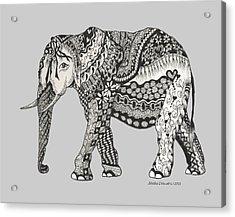 The Royal Elephant Zentangled Acrylic Print