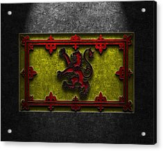 Acrylic Print featuring the digital art The Royal Standard Of Scotland Stone Texture by Brian Carson