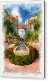 The Royal Towers Atlantis Resort Acrylic Print by Amy Cicconi