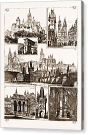 The Royal Wedding In Austria, Sketches In Prague, Where Acrylic Print by Litz Collection