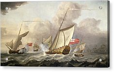 The Royal Yacht Mary Exchanging Salutes, 18th Century Acrylic Print by Cornelis van de Velde