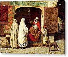 The Rug Merchant Acrylic Print by Munir Alawi